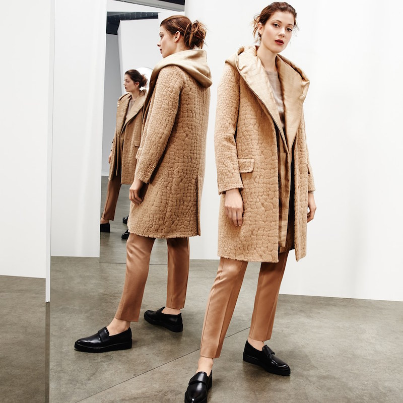 Max Mara Agami Crocodile Pattern Alpaca & Wool Coat