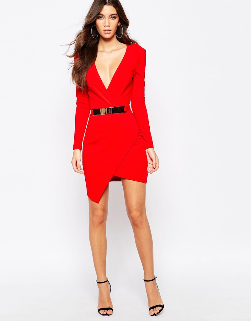 NaaNaa Plunge Neck Belted Pencil Dress With Wrap Skirt
