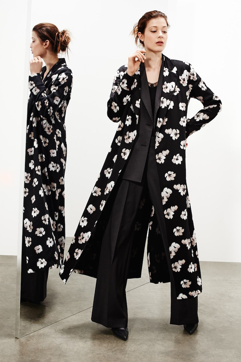 Nordstrom Signature and Caroline Issa Floral Print Long Silk Twill Jacket