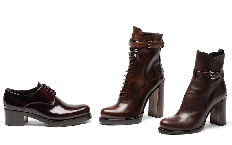 Prada Burnished Leather Lace-Up Booties