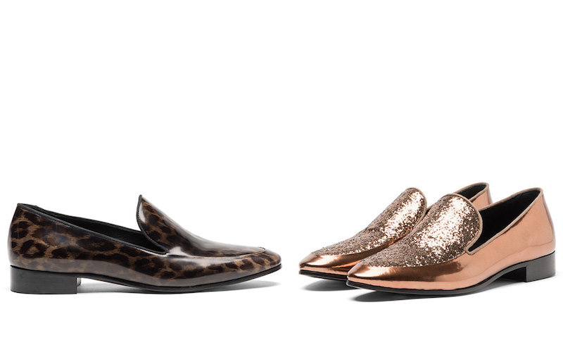 Prada Glitter Metallic Leather Loafers