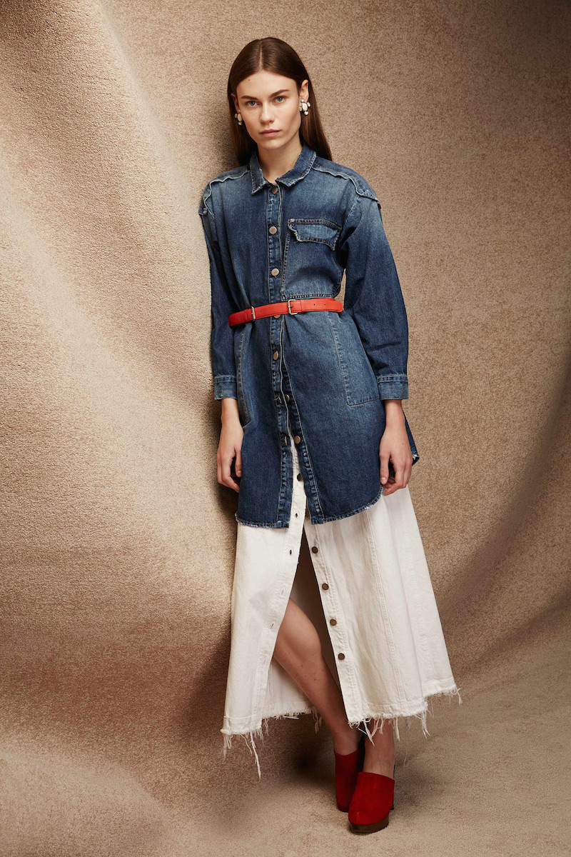 Rachel Comey Gore Frayed-hem Denim Midi Skirt