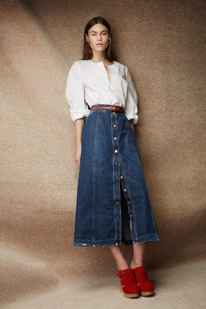 Rachel Comey Gore Frayed-hem Denim Skirt