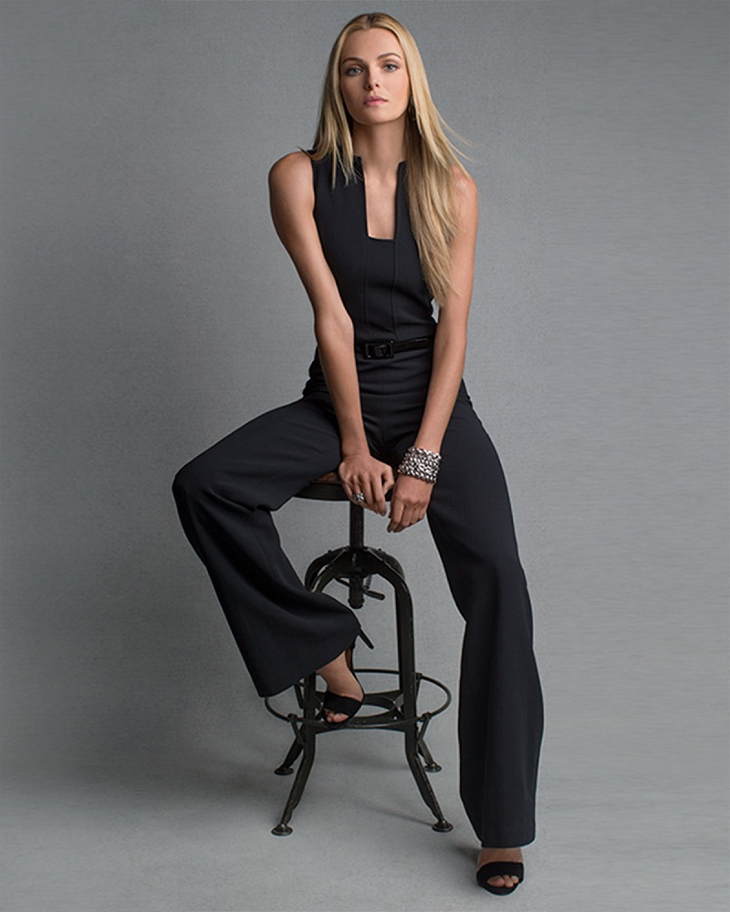 Ralph Lauren Black Label Isabella Sleeveless Self-Belt Jumpsuit