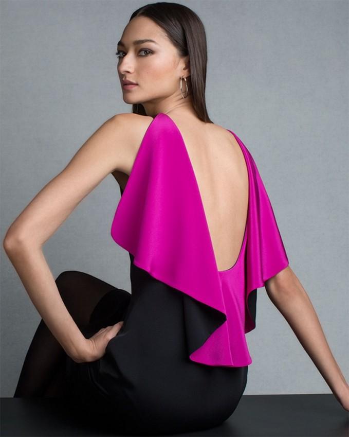 Ralph Lauren Black Label Sleeveless Ruffle-Back Colorblock Sheath Dres