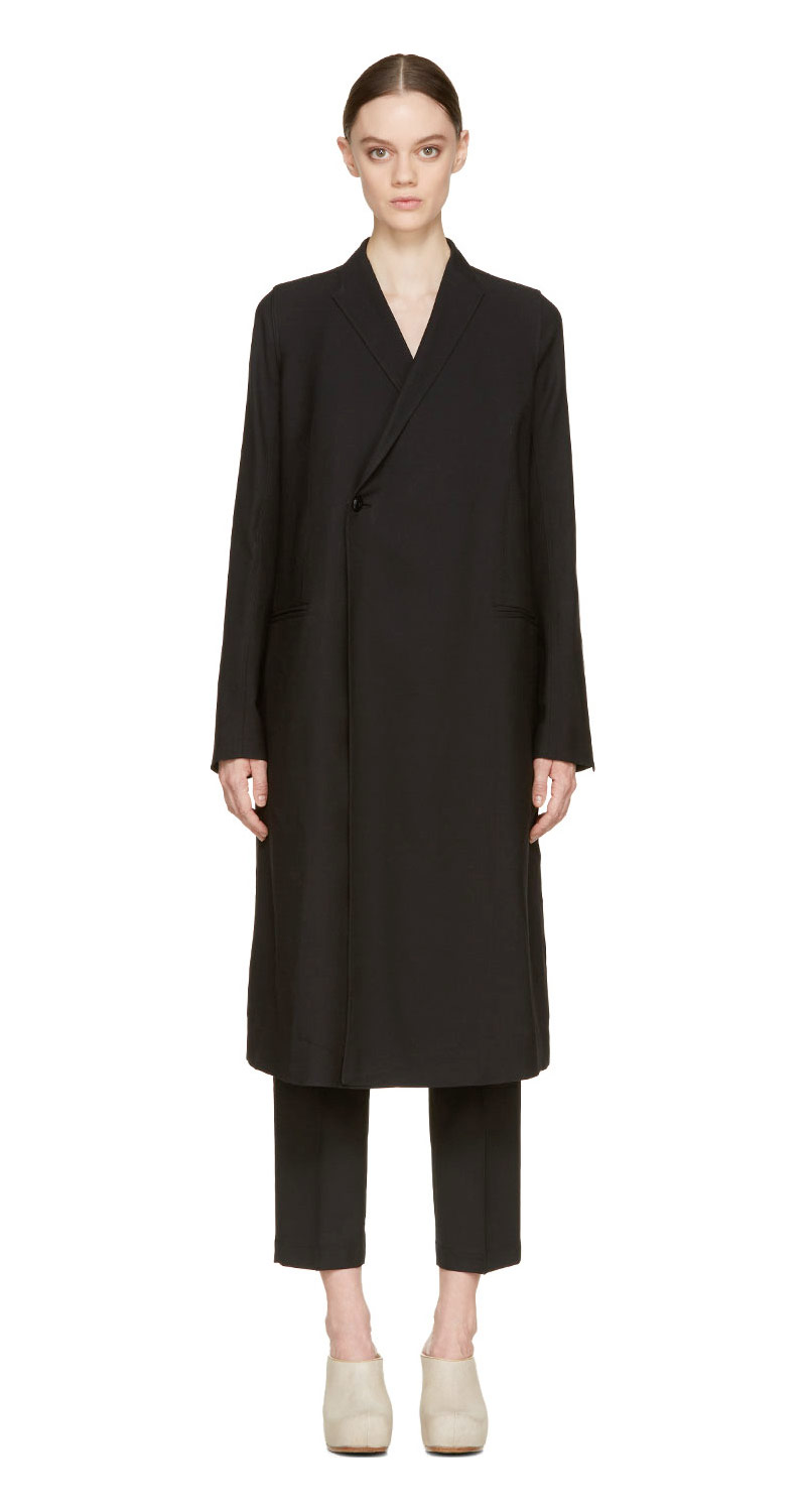 Rick Owens Black Double-Breasted Sharp Coat_1