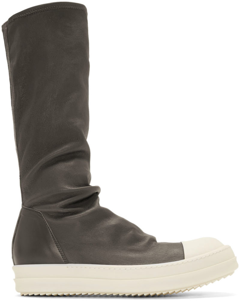 Rick Owens Grey Lamb Leather Sock Sneakers
