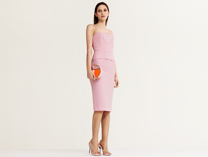 Roland Mouret pink Cicada strapless wool-crepe dress