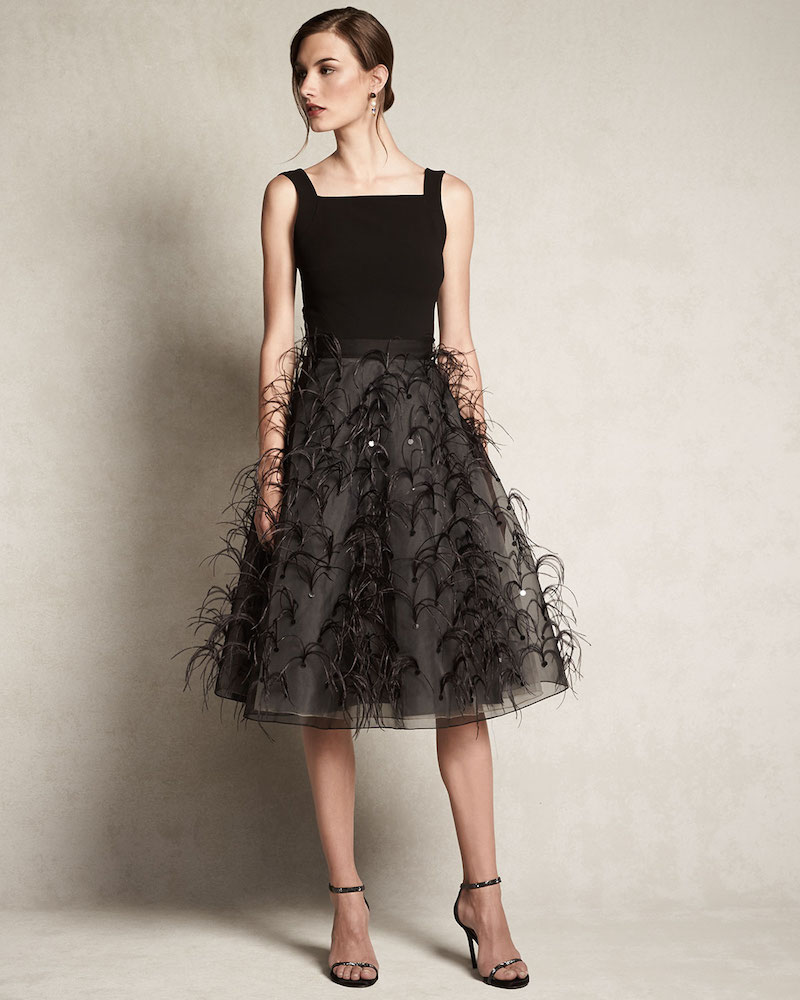 Sachin & Babi Noir A-line Midi Skirt with Feathers