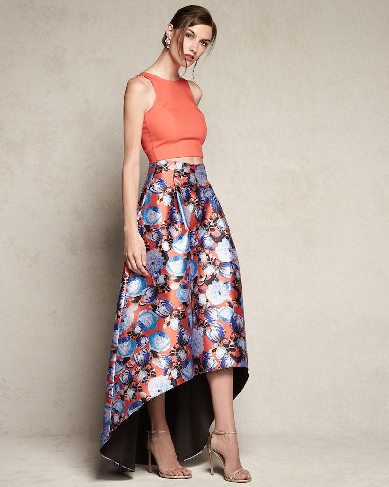 Sachin & Babi Noir Floral-Print High-Low Skirt