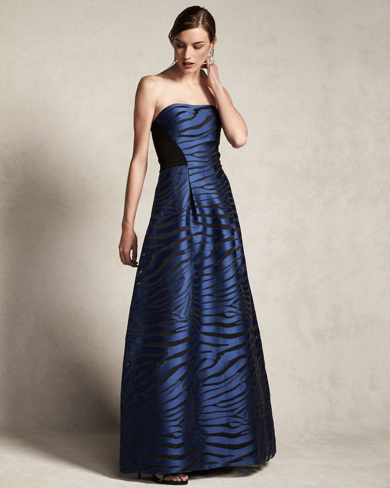 Sachin & Babi Noir Strapless Animal-Print Ball Gown