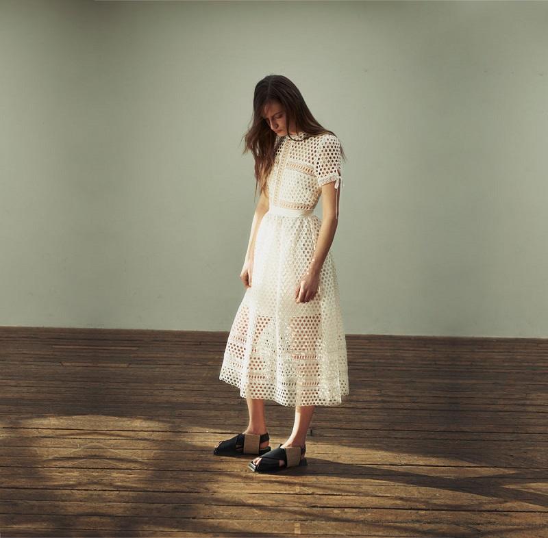 Self-portrait Panelled lace midi dress-