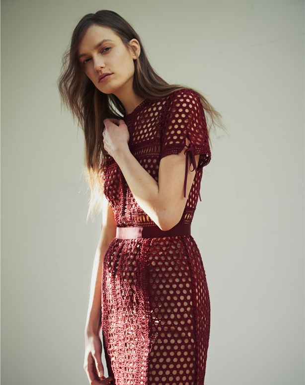 Self-portrait Panelled lace midi dress- (2)
