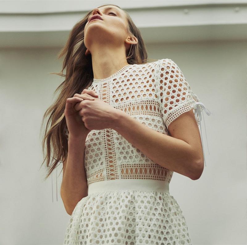 Self-portrait Panelled lace midi dress