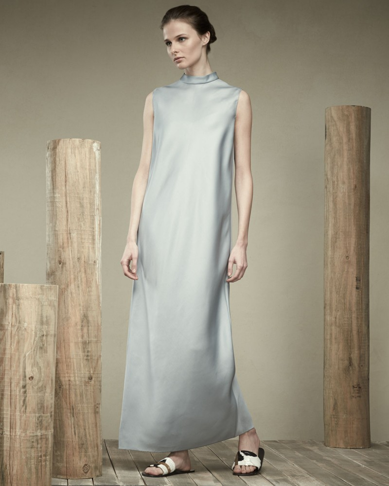 THE ROW Mock-Neck Sleeveless Organza Dress