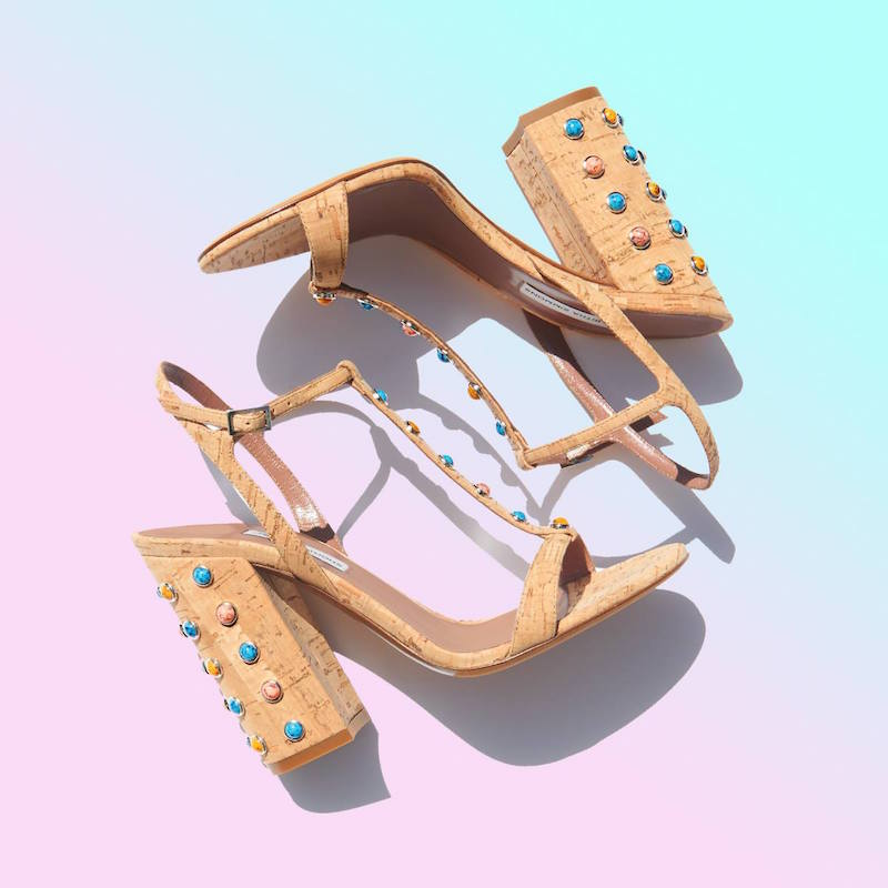 Tabitha Simmons Elvy Cork and Stone-embellished Sandals