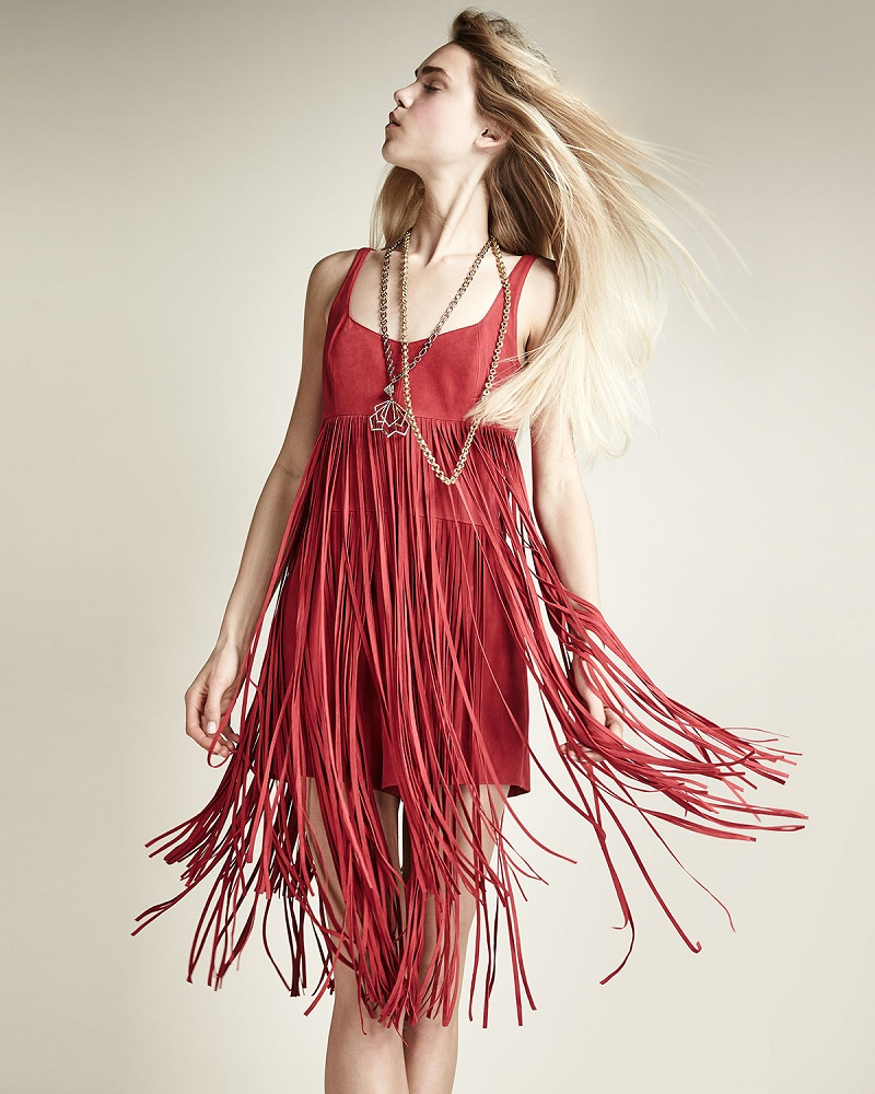 Tamara Mellon Suede Fringe Romper Dress