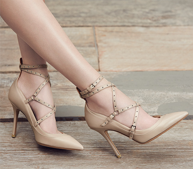 Valentino Grommet-Studded Leather Pumps