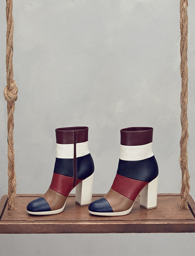 Valentino Striped Leather Booties