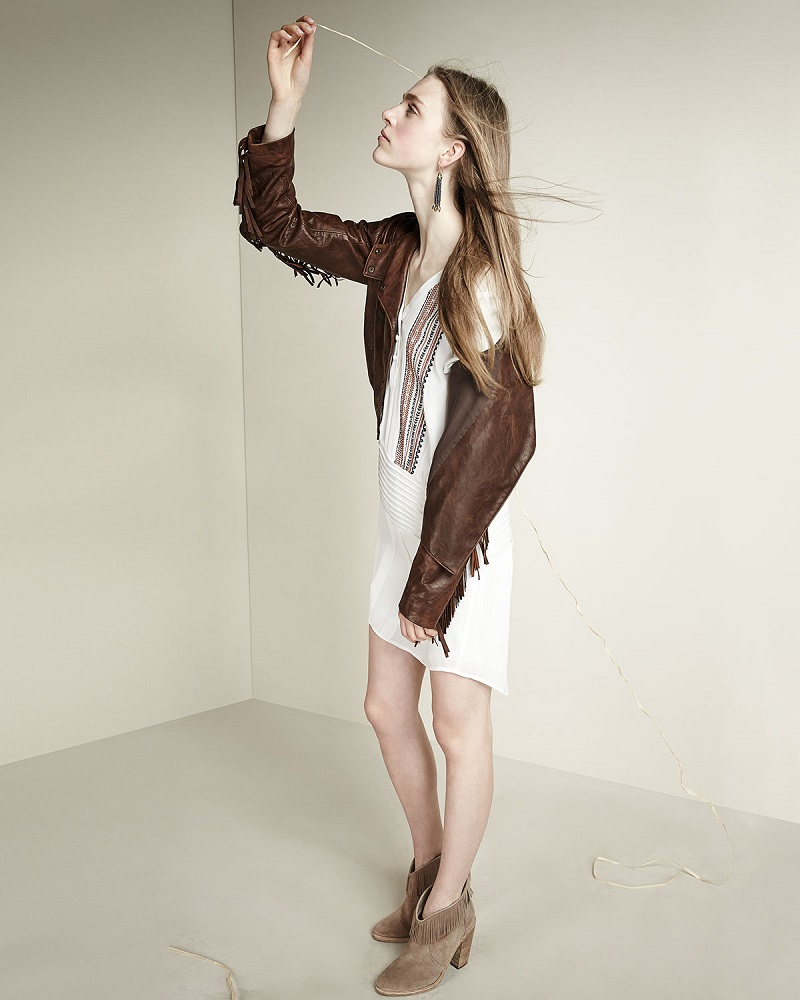 Veronica Beard Frontier Fringe Lambskin Leather Jacket