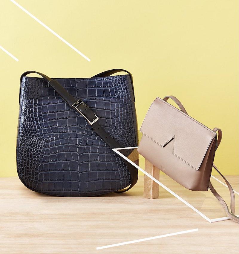 Vince Croc Embossed Medium Messenger Bag