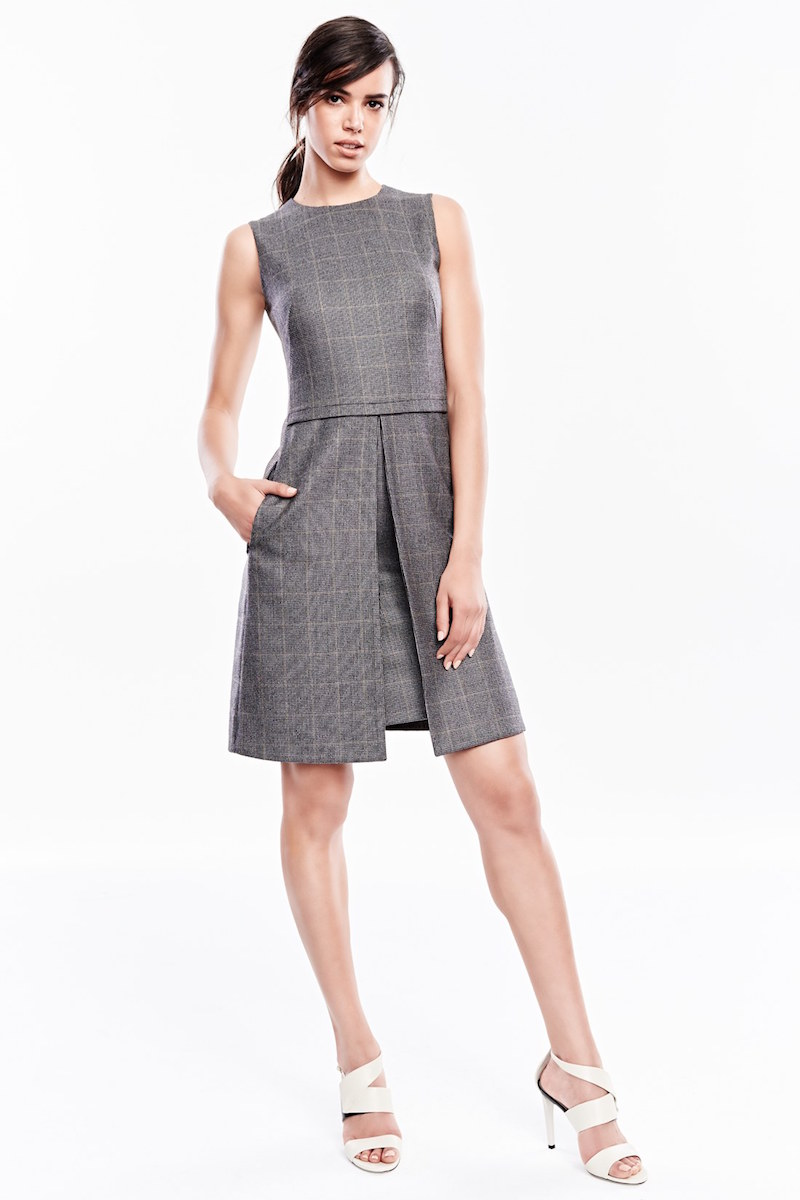 Akris Check Wool Blend Tweed Dress