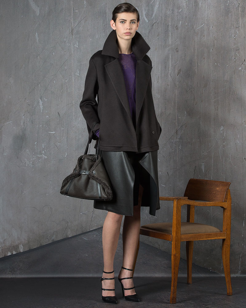 Akris Double-Face Cashmere Coat with Zip-Off Leather Hem