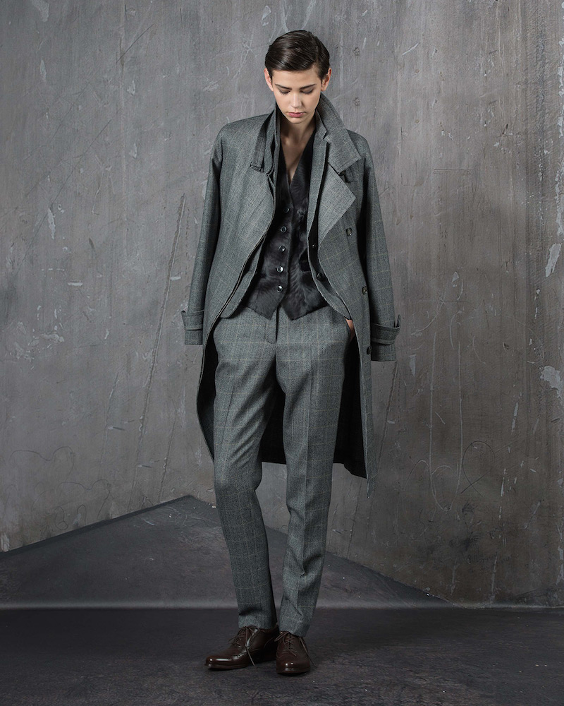 Akris Long-Sleeve Check Trenchcoat