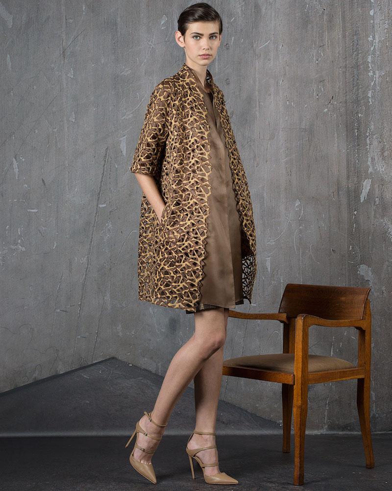 Akris Metallic Trapezoid Lace Coat
