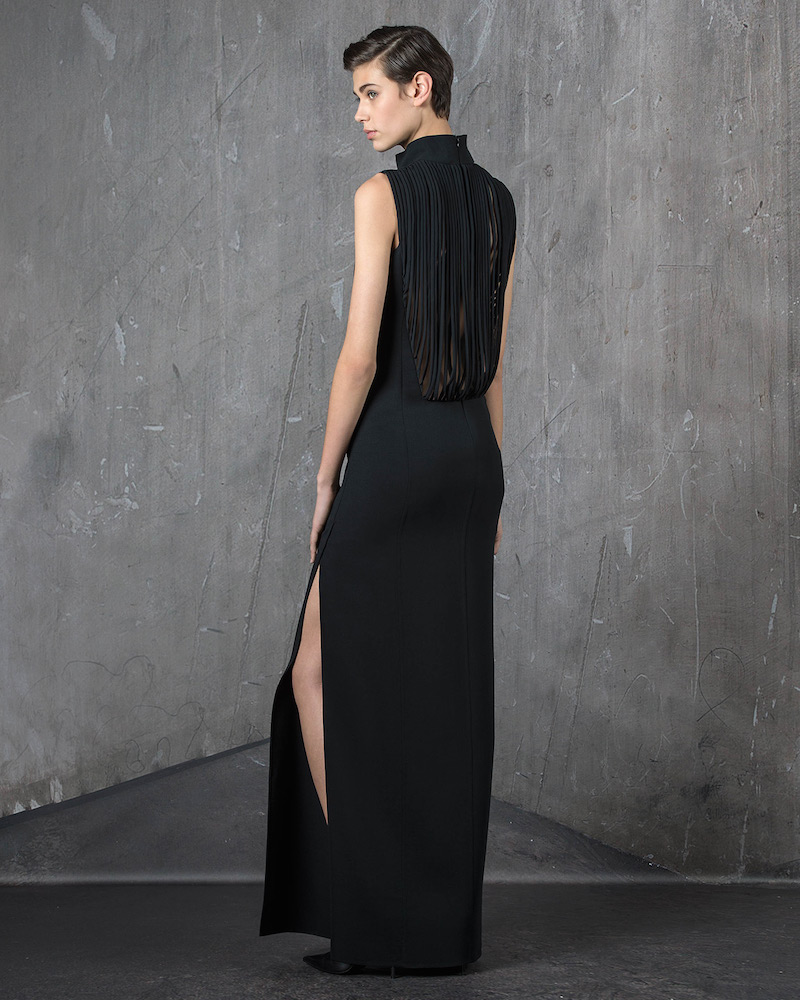 Akris Sleeveless Fringe-Back Gown