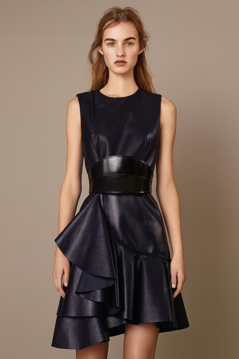 Alexander McQueen Napa Leather Ruffled Dress