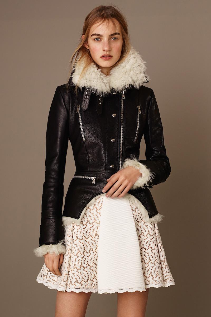 Alexander McQueen Shearling Fur Cutaway Moto Jacket