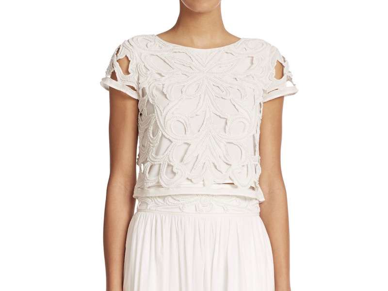 Alice + Olivia Abbi Embellished Cotton Eyelet Top