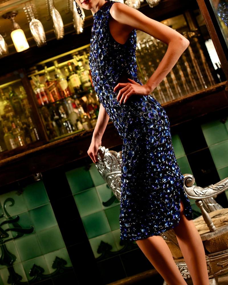 Alice + Olivia Ivana Beaded Midi Sheath Dress