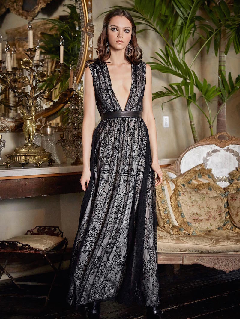Alice + Olivia Sybil Drop V-neck Full Length Dress