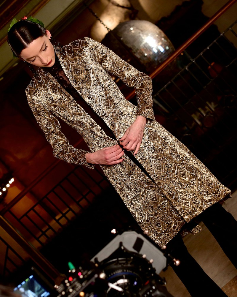 Alice + Olivia Vali Metallic Jacquard Coat