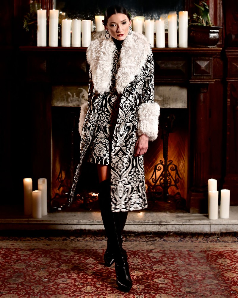 Alice + Olivia Winona Damask Fur-Trim Trenchcoat