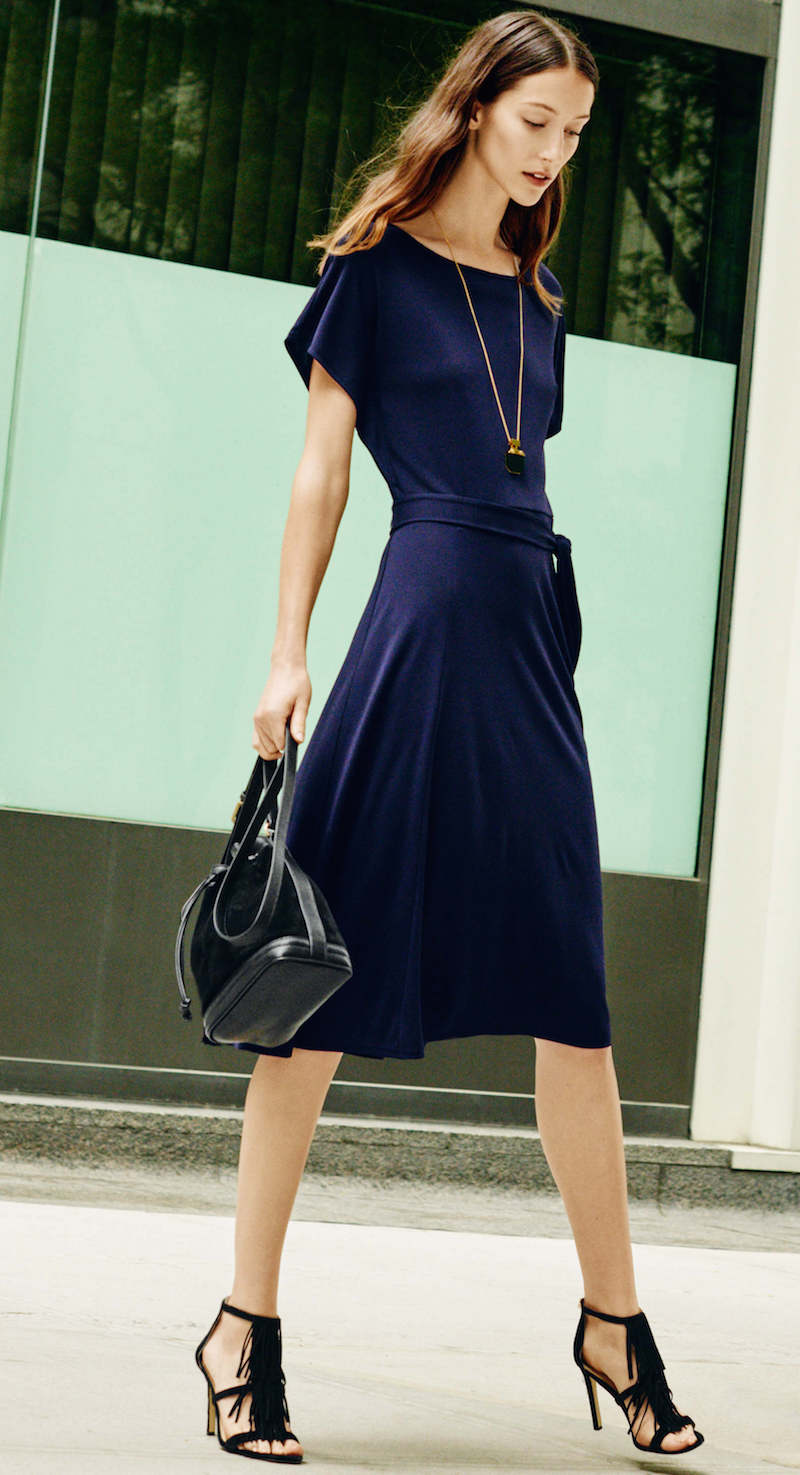 Ann Taylor Matte Jersey Belted Midi Dress