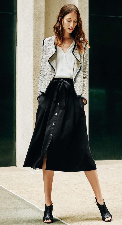 Ann Taylor Twill Belted Midi Skirt