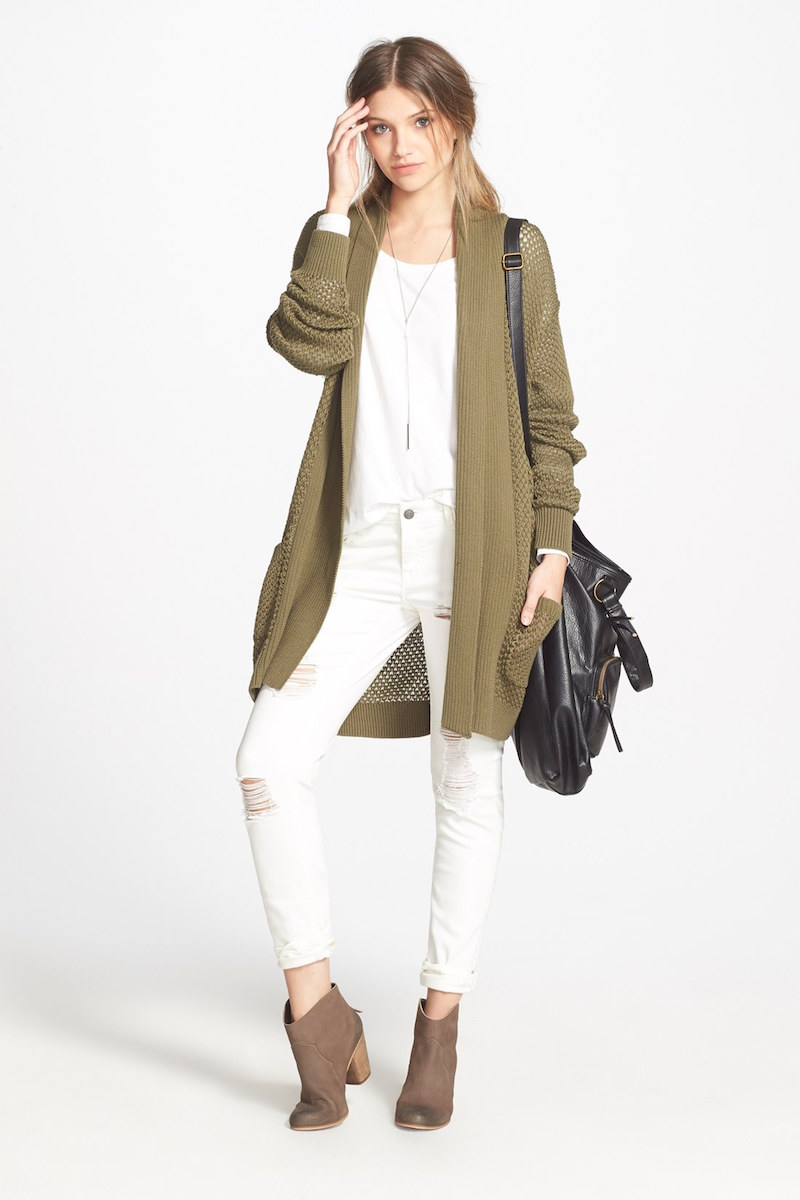 BP. Long Textured Open Cardigan