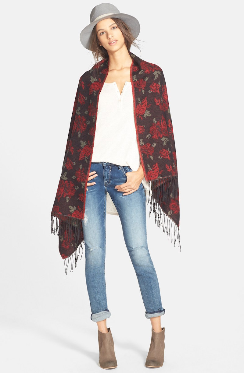BP. Rose Pattern Blanket Scarf