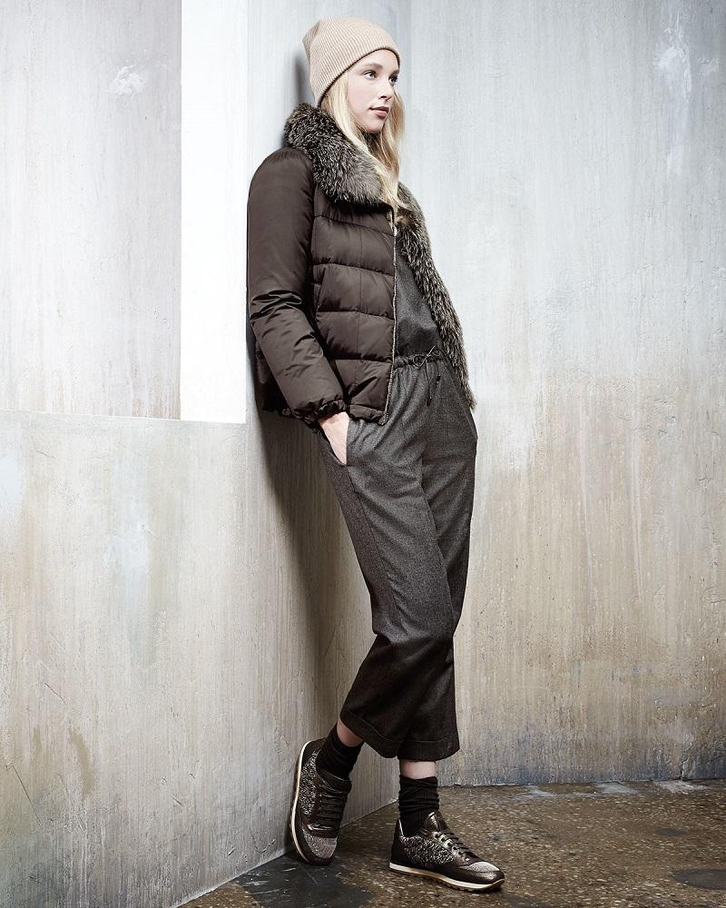 Brunello Cucinelli Long-Sleeve Puffer Jacket wFur Trim