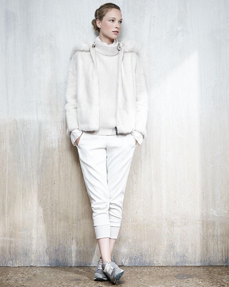 Brunello Cucinelli Reversible Mink Jacket with Fox Fur-Trimmed Hood