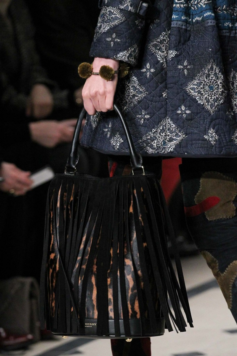 Burberry Prorsum Suede Fringe Animal-Print Calf Hair Bucket Bag