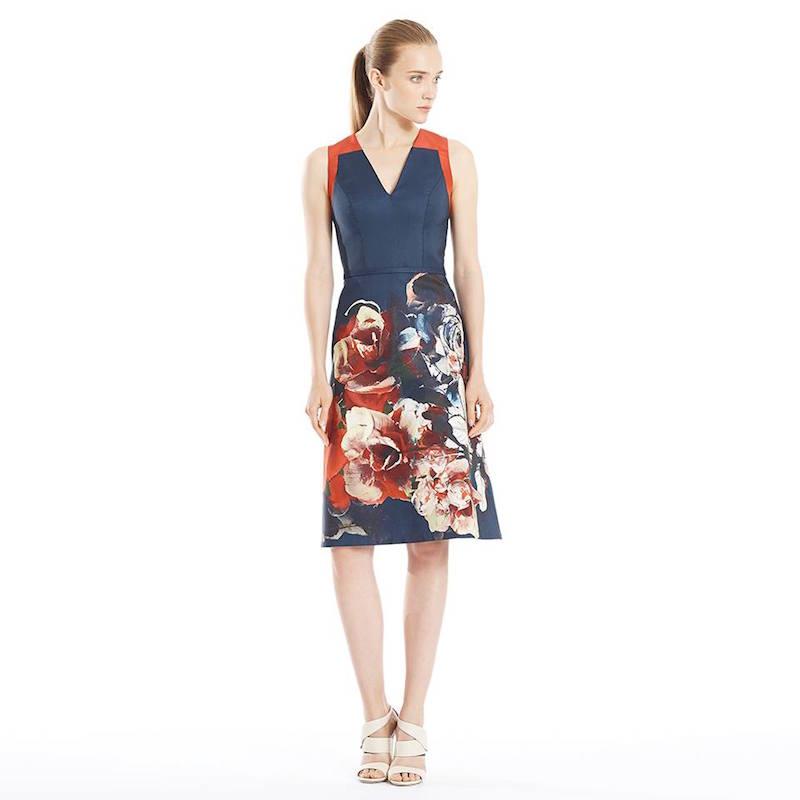 Carolina Herrera Floral Faille Dress