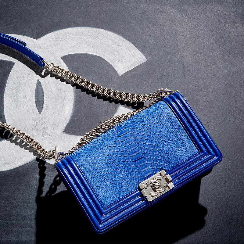 Chanel Blue Python Medium Boy Bag