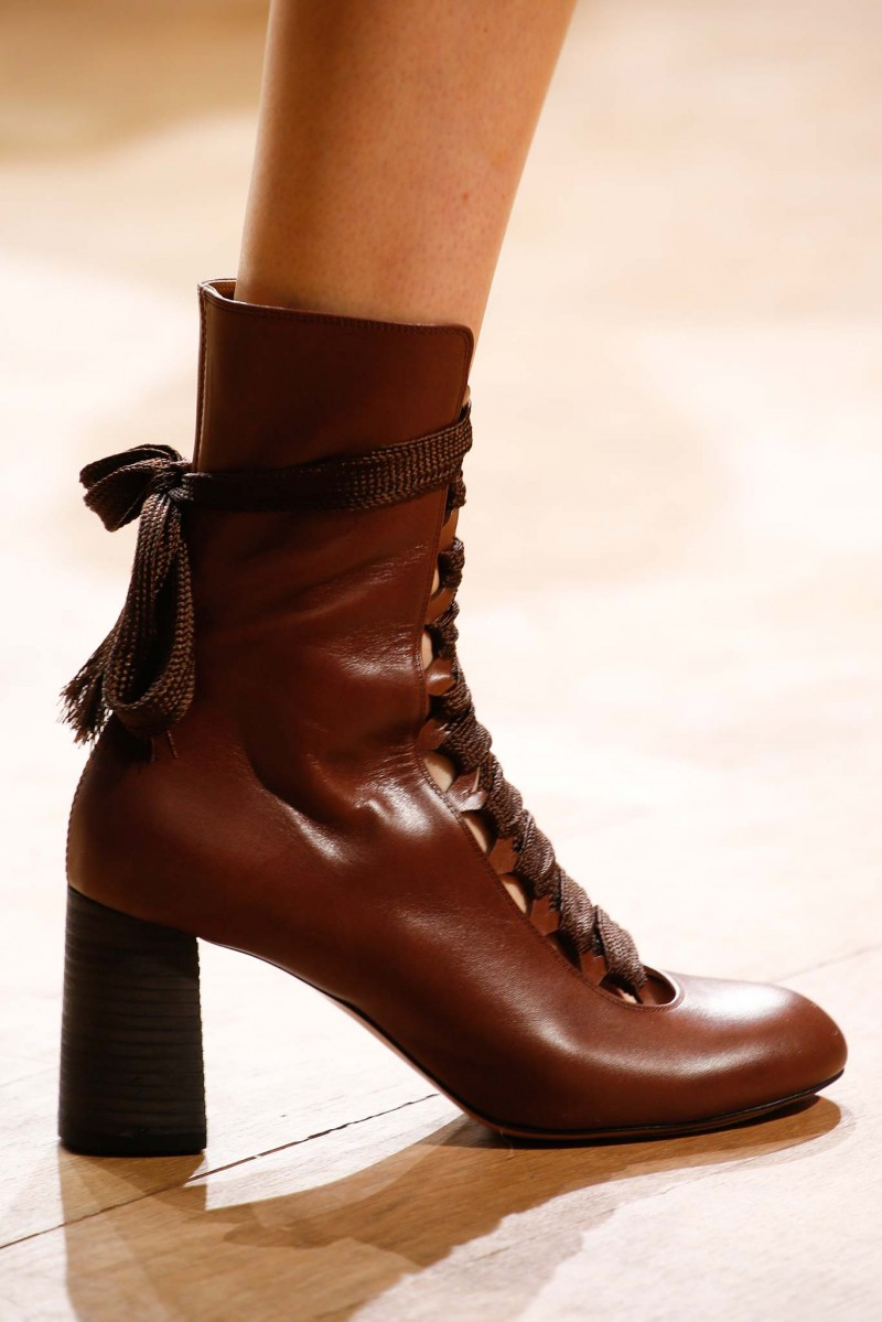 Chloe Leather Lace-Up Ankle Boot in Brown