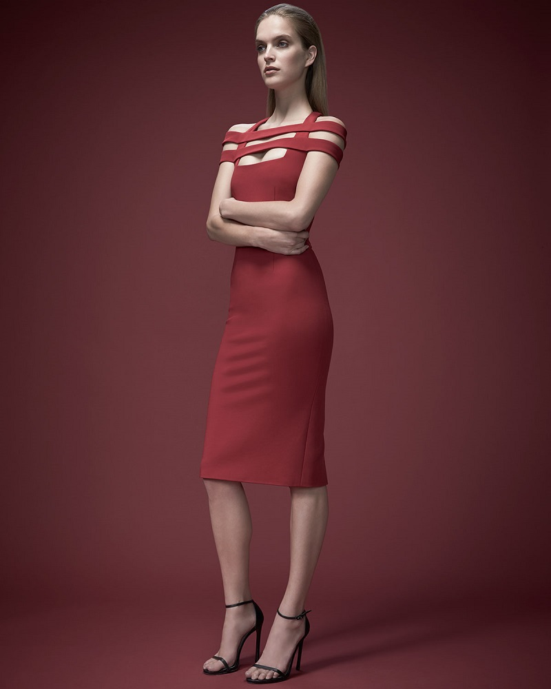 Cushnie et Ochs Strappy-Shoulder Jersey Sheath Dress