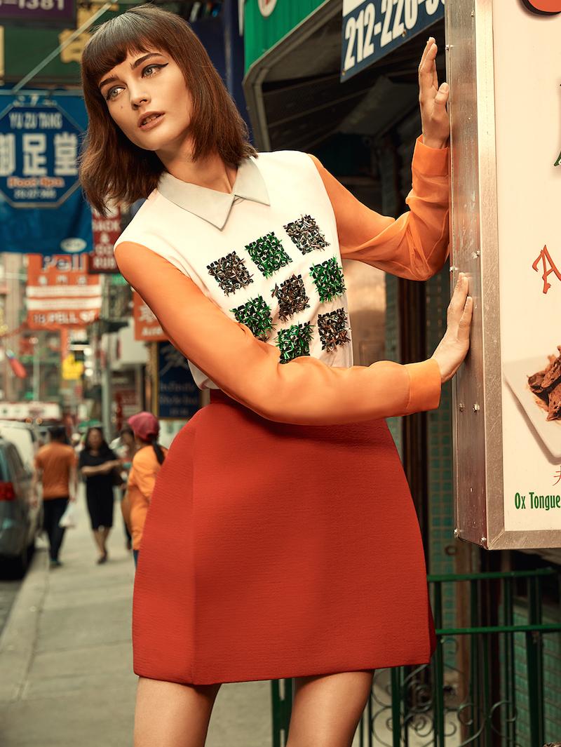 DELPOZO Embroidered Organza Sleeve Cotton Poplin Shirt