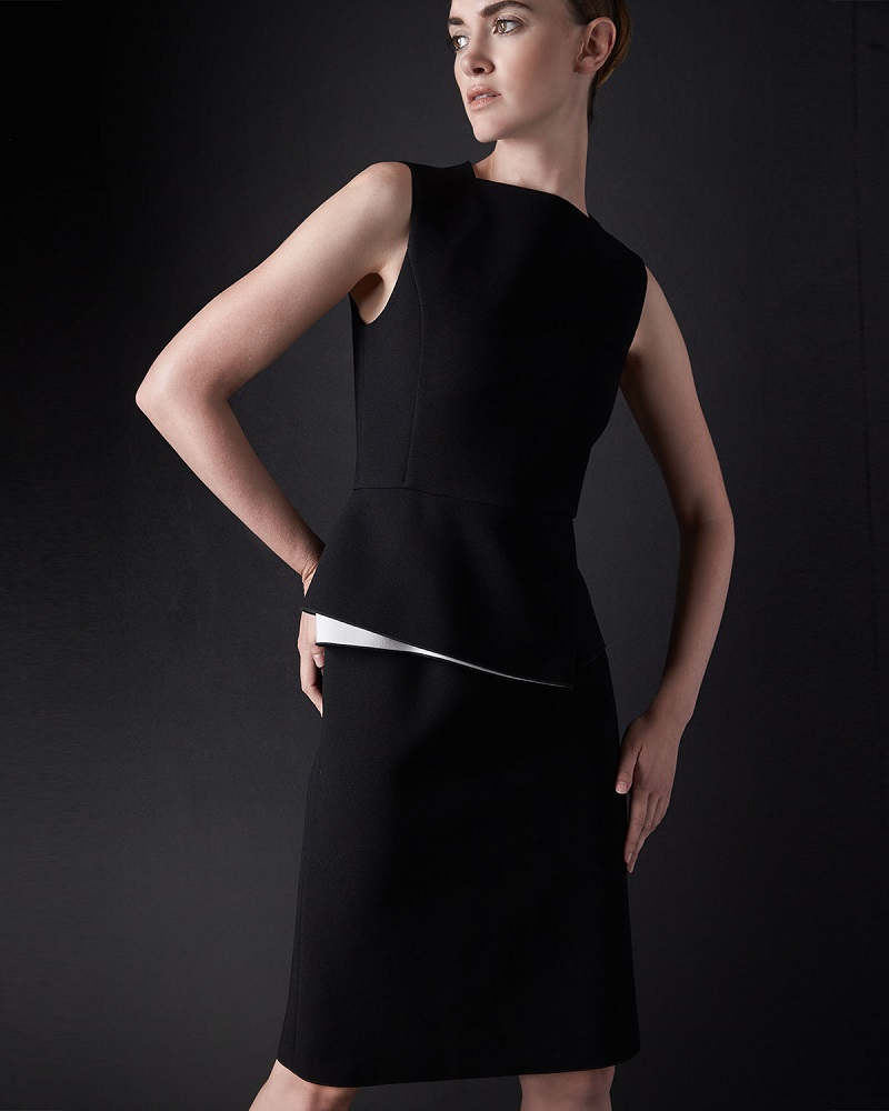 Derek Lam Contrast Peplum Sheath Dress